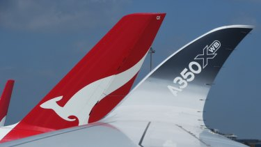 The curved wingtip of an Airbus A350-1000, shown here on an Airbus world tour in Sydney in  February.