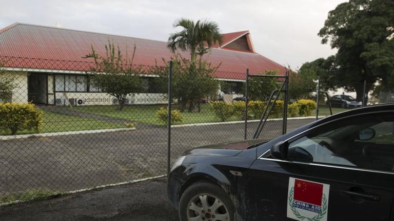 A China Aid vehicle at the Vanuatu Parliament.
