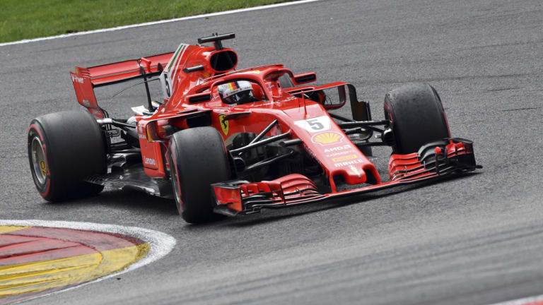 Ferrari's Sebastian Vettel en route to winning the Belgian Formula One Grand Prix on Sunday.