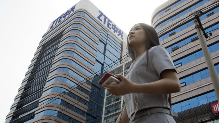 The ZTE building in Beijing, China.