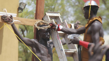 The crucifixion is re-enacted in Juba, South Sudan.
