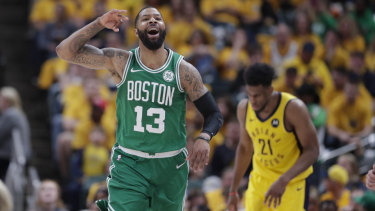 Boston forward Marcus Morris celebrates during the play-off game against the Pacers.