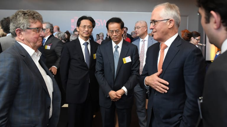 (Centre three from left to right) H.E. Consul General Gu Xiaojie, H.E. Jingye Cheng Chinese Ambassador to Australia and Prime Minister Malcolm Turnbull.