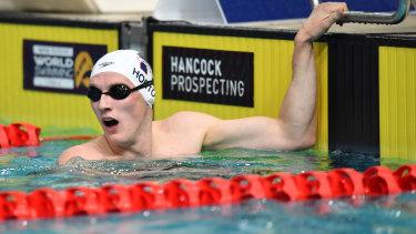 Struggling: Mack Horton after the 800 metres final.