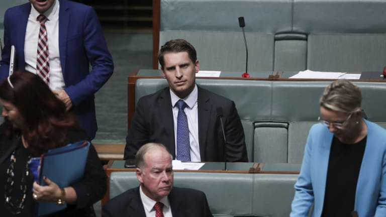 Liberal MP Andrew Hastie during Question Time at Parliament House in Canberra.