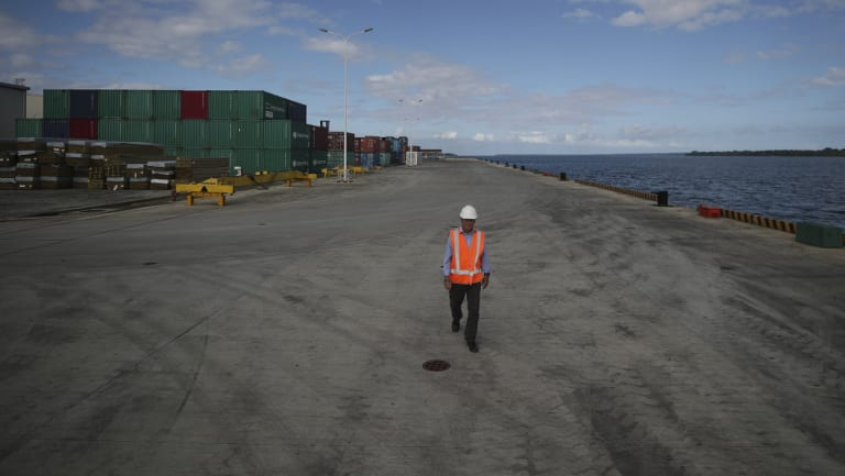 The sprawling wharf in Luganville, which has raised the eyebrows of defence experts.