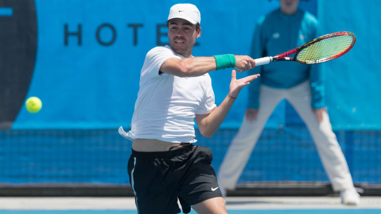 James Frawley won the first Challenger singles match of his career in Canberra on Sunday.