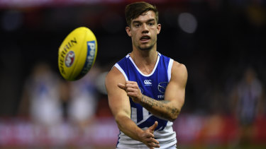Up and about: Jy Simpkin was among best on ground contenders for North in their win over St Kilda.