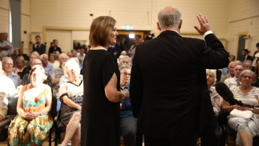 Mr Morrison and the member for Corangamite, Sarah Henderson, attend a public forum at the Springdale Neighbourhood Centre in Drysdale.