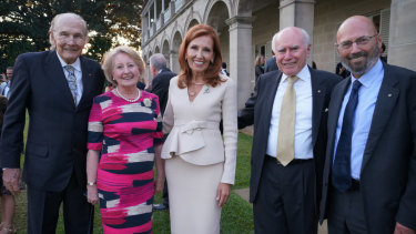 Helen Zorbas, centre, with (from left) husband David Gillett, Janette and John Howard and Arthur Sinodinos.