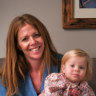 Kimberly Gillan and her 18-month-old daughter Izzy, who was a newborn during Melbourne's first lockdown.