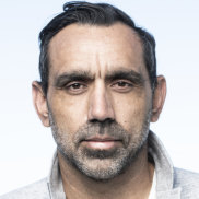 """First-time father Adam Goodes says he is in """"a love bubble""""."""