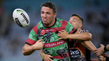 Loose carry: Sam Burgess coughs up the ball at ANZ Stadium.