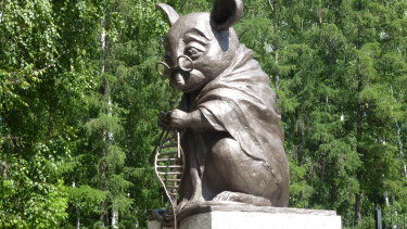 The monument to a lab mouse in Novosibirsk, Russia.