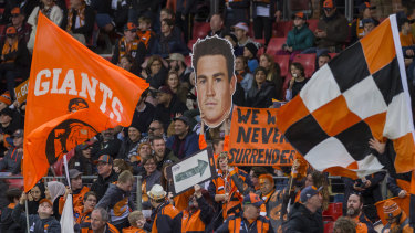 Giant target: GWS fans show their support for 2019 Coleman Medal-winning forward Jeremy Cameron.