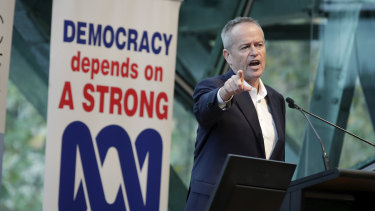 Bill Shorten speaks at an ABC Friends event at Federation Square in Melbourne.