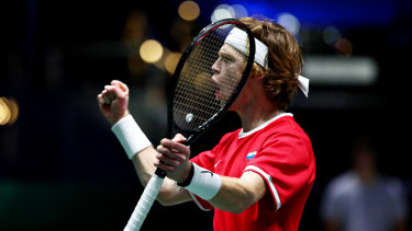 Andrey Rublev of Russia celebrates winning his semi-final singles match against Pospisil.