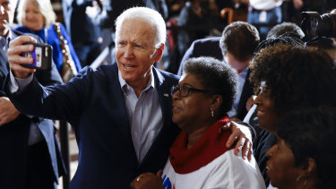 Joe Biden with a voter in the South Carolina Democratic primary.