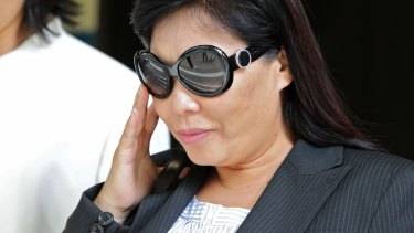 Helen Liu outside a Melbourne court in 2011.