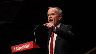 Labor leader Bill Shorten delivers the key note speech to the NSW Labor conference on Sunday.