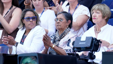Cathy Freeman, her mother Cecelia and Margaret Court watch on during the women's singles semi-final match between Ash Barty and Sofia Kenin.