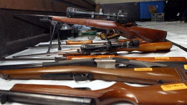Firearms seized from bikies in Victoria.