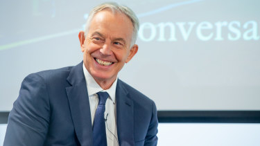 Tony Blair speaking at the launch of the International School of Government at King's College London on Tuesday.