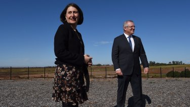 NSW Premier Gladys Berejiklian and Prime Minister Scott Morrison at an announcement last week about the rail link to the new airport.