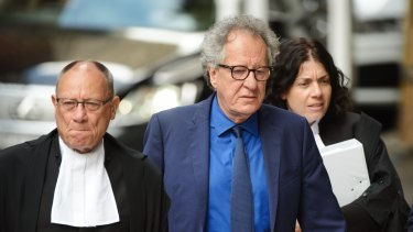 Geoffrey Rush arrives at the Federal Court in Sydney on Monday.