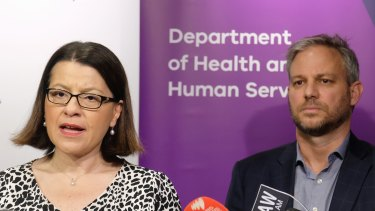 Victorian Health Minister Jenny Mikakos  and Brett Sutton give an update on the coronavirus during a press conference in Melbourne.