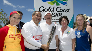 Then-premier Campbell Newman with Gold Coast mayor Tom Tate and then-Games Minister Jann Stuckey during the 2013 Queen's Baton relay.