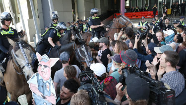 Police clash with protesters outside the IMARC conference in Melbourne earlier this month.