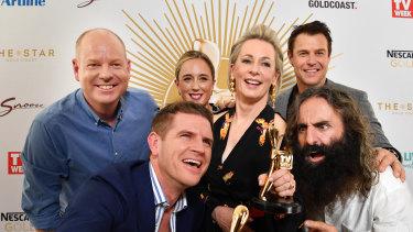 Gold Logie nominees (left to right) Tom Gleeson, Sam Mac, Eve Mprey, Amanda Keller, Rodger Corser and Costa Georgiadis.