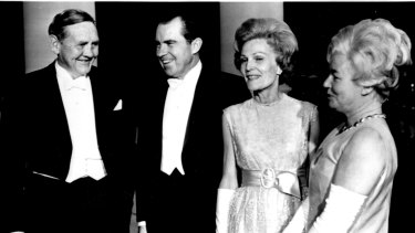 President and Mrs. Nixon welcomes the Australian Prime Minister, John Gorton, and his wife to the White House tonight. The Nixons hosted the state dinner in honor of Gorton's visit to the United States. May 6, 1969.
