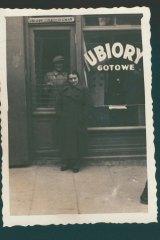 Sarah's parents, Aron and Estera Fiszman, at their clothing store in Lublin, Poland, circa 1938.