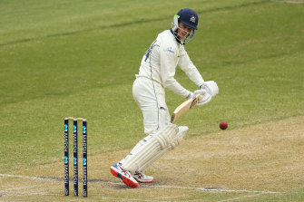 Peter Handscomb in action on day two of the Sheffield Shield match between Victoria and New South Wales.