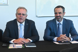 Prime Minister Scott Morrison at a roundtable discussion on vaccines with GPs and AMA president Dr Omar Khorshid in Perth.