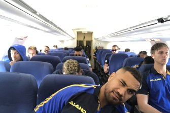 All aboard ... the Eels take to the skies.