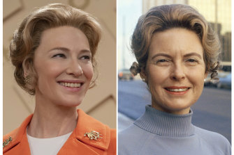 Cate Blanchett as Phyllis Schlafly, left, and Phyllis Schlafly, chairwoman of the Republican Women's Organisation in St Louis in 1973.