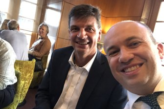 All smiles: Federal Energy Minister Angus Taylor (left) with NSW Energy and Environment Minister Matt Kean, at the Perth COAG energy ministers meeting in 2019.