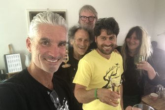 Craig Foster, Arnold Zable, David Bridie, Farhad Bandesh and friend Jenell Quinsee on the night of Bandesh's release.