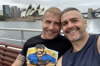 Shawn Rawleigh (left) is planning to move to Australia to join his partner Ben Scrivener, but is stuck in Los Angeles because of the travel ban.