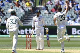 Another wicket: Josh Hazlewood celebrates.
