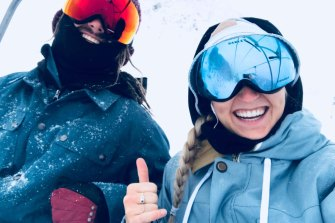 Sam Worpel (left) and Monique Sage sorted jobs on Mount Hotham in November and have been on tenterhooks since coronavirus hit.