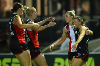 Jacqui Vogt celebrates with teammates after scoring for St Kilda against Geelong on Friday night.