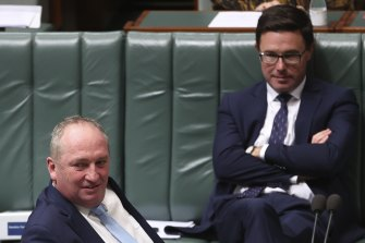 Several Nationals MPs have accused David Littleproud, right, of undermining Deputy Prime Minister Barnaby Joyce byprivately agitating against the current route.