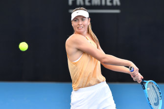 Maria Sharapova during a practice session at the Queensland Tennis Centre in Brisbane on Tuesday.