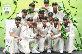 Australia celebrate their series whitewash at the SCG.