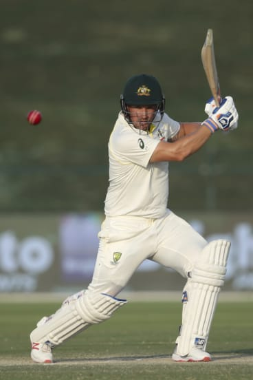 Digging in: Australian opener Aaron Finch in action on day three.