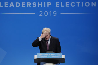 Boris Johnson, the leading candidate for the Conservative party leadership speaks on Saturday.